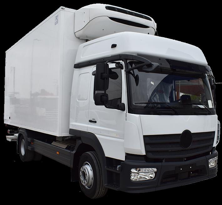 Camión paquetero chasis cabina con trampilla retráctil